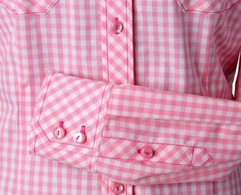 Konni Lach Masskonfektion-Bluse-Karo-rosa-Detail